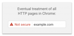 Image showing how Chrome flags non HTTPS sites