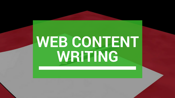 Banner that says web content writing